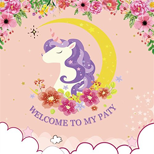 CSFOTO 5x5ft Background For Unicorn Birthday Party Decor Photography Backdrop Closed Eyes Enjoyment Welcome to My Party Starry Flower Happy Celebrations Ornament Child Studio Props (This My Halloween Welcome To Halloween Party)