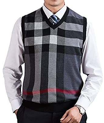 Zicac Men's V-neck Plaid Knitwear Sweater Vest Waistcoat at Amazon ...