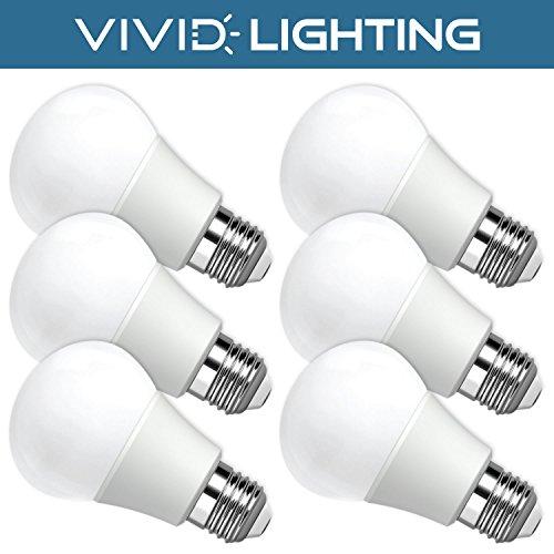 Vivid Lighting LED Bulbs, 60 Watt Replacement, 8W, 800 Lumens, 6 Pack, Daylight (5000K), Non-Dimmable