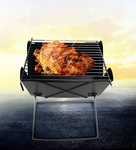 Outdoor4less Stainless Steel Mini Portable X Folding Foldable Charcoal BBQ Barbecue Grill for Outdoor Camping and Picnic