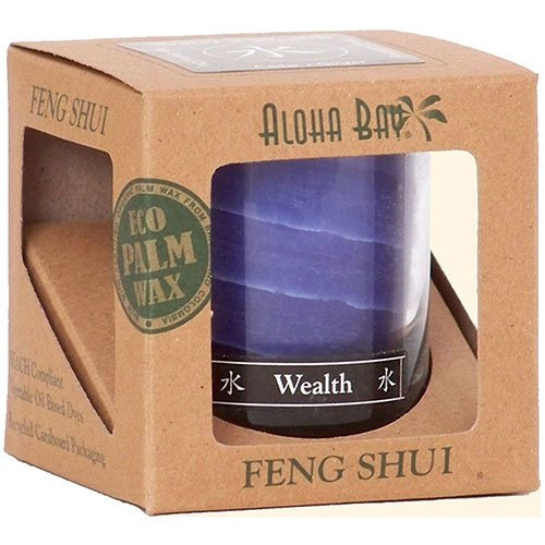 Feng Shui Palm Wax Jar Candle, Water Wealth 2.5 oz by Aloha Bay (Pack of 2)