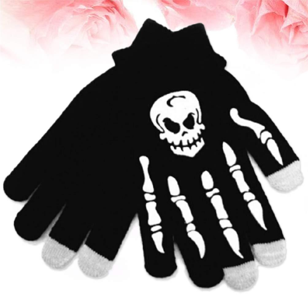 Amosfun 1 par de guantes de pantalla t/áctil de estilo punk a prueba de viento de calavera blanca para hombres deportivos Use guantes de pantalla t/áctil de ciclismo para montar Guantes de estilo punk