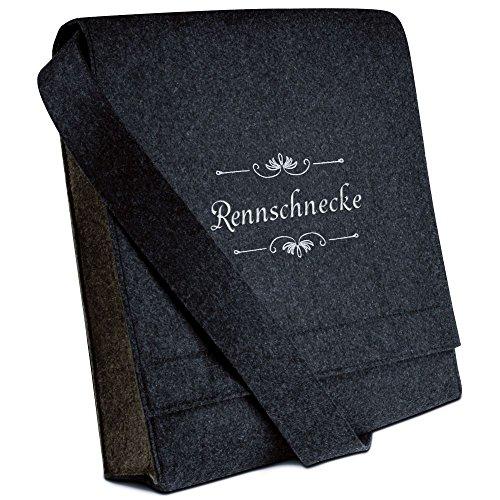 Halfar® Tasche mit Namen Rennschnecke bestickt - personalisierte Filz-Umhängetasche lf6MwkGC