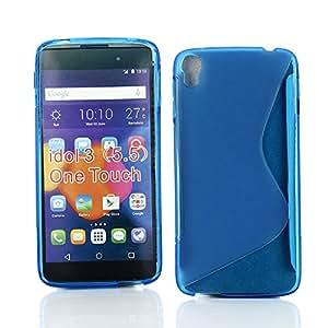 "Kit Me Out ES ® Funda de gel TPU + Cargador para el coche + Protector de pantalla con gamuza de microfibra para Alcatel OneTouch Idol 3 (5.5"" pulgadas) - Azul Onda línea S"
