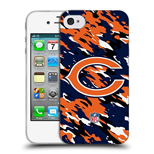 Official NFL Camou Chicago Bears Logo Soft Gel Case for Apple iPhone 4 / 4S - Nfl Iphone 4 Case