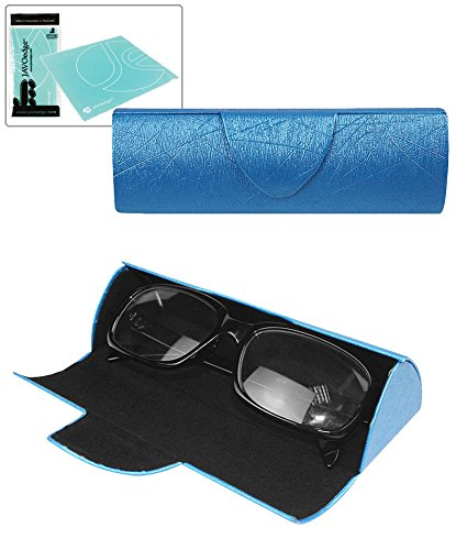 JAVOedge Blue Half Cylinder Hard Case Eyeglass / Glasses Case with Magnetic Closure