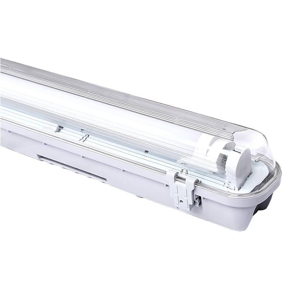 1.2M LED Feuchtraumleuchte 18W Wannenleuchte Kaltweiß Leuchtstoff lamp Wasserdicht 1600 LM Tageslicht Werkstatt Leuchten (T8, G13) [Energieklasse A++] WIS