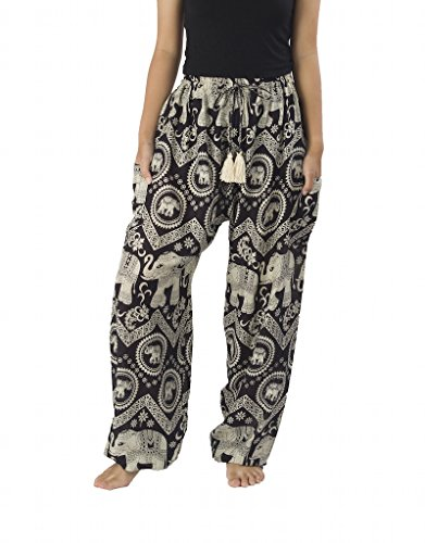 Lannaclothesdesign Women's Elephant Hippie Boho Yoga Harem Pants (L, Black)