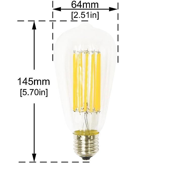 Lustaled 12W E27 ST64 LED Filamento Edison Vintage Bombilla con 1300 Lumenes, 360 grados, Reemplazo de 100W Hálogena Bombilla (4-Unidades, 2700K)