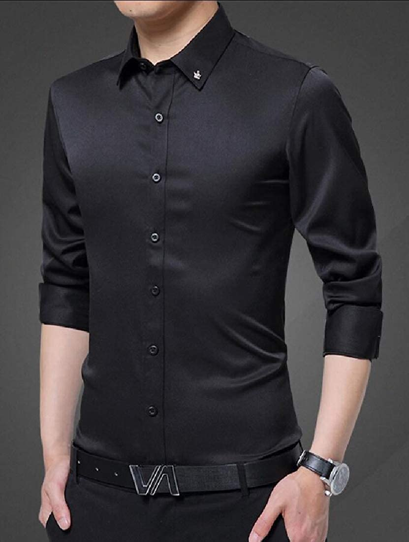 pujingge Mens Long Sleeve Casual Business Solid Color Slim Fit Point Collar Dress Shirts