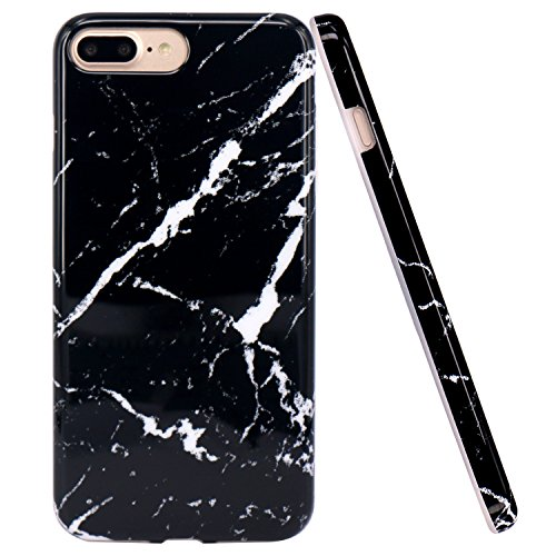 iPhone 7 Plus Case, JAHOLAN Black Marble Design Slim Shockproof Flexible Glossy TPU Soft Case Rubber Silicone Skin Cover for Apple iPhone 7 Plus (2016) / iPhone 8 Plus (2017)
