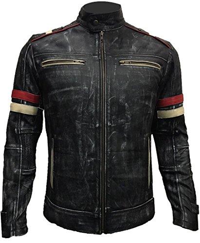 Men Vintage Biker Retro Motorcycle Cafe Racer Moto Distressed Leather Jacket (LARGE)