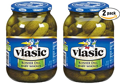 Vlasic Kosher Dill, Baby Wholes Pickles, 46 Oz Glass Jar (Pack of 2, Total of 92 Oz) (2 pack)
