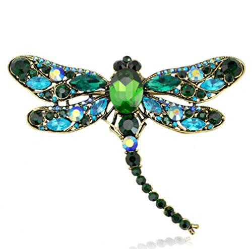 RichBest Fashion Summer Jewelry Accessories Brooch For Girl Vintage Lovely Dragonfly Crystal Scarf Lapel Pin Brooches For Women