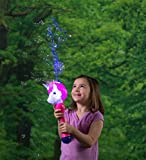 HearthSong Light Up Unicorn Bubble Blower Machine - Includes 3 oz Bubble Solution - Battery Operated - 13'' L Multicolor