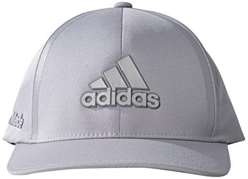 (adidas 2017 Tour Delta Flex-Fit Textured Structured Hat Mens Stretch Golf Cap Mid Grey Small/Medium)
