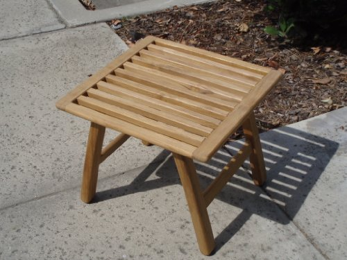 Outdoor Patio Teak Foot Stool Ottoman Side End Table