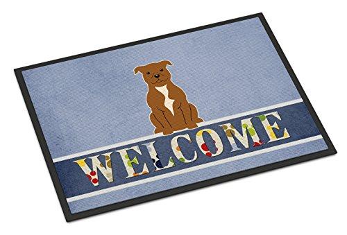 Caroline's Treasures BB5628MAT Staffordshire Bull Terrier Brown Welcome Doormat, 18 x 27, Multicolor