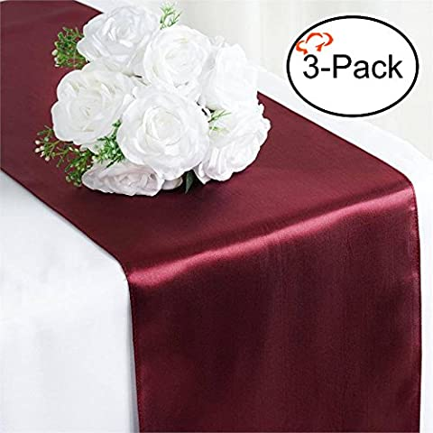 Tiger Chef 3-Pack Burgundy 12 x 108 inches Long Satin Table Runner for Wedding, Table Runners fit Rectange and Round Table Decorations for Birthday Parties, Banquets, Graduations, - Fiesta Table