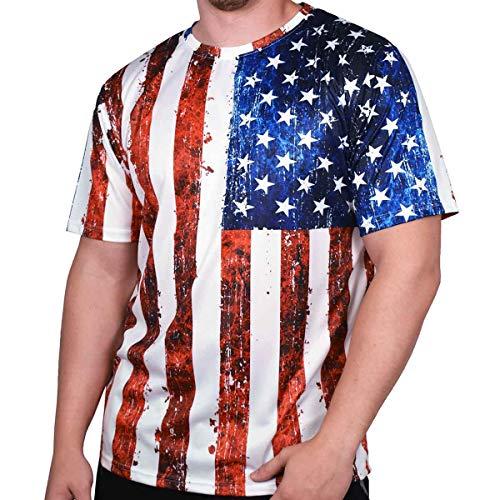 (American Summer Men's Crewneck Sublimation Flag Print T Shirt (JD17-115, XXL))