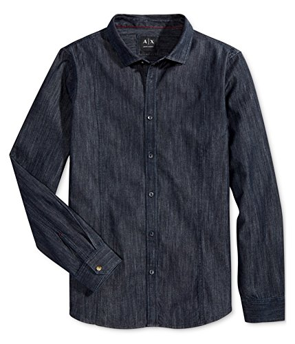 GIORGIO ARMANI Armani Mens Long Sleeve Denim Button Up Shirt 1500 - Top Armani Giorgio