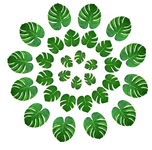 Keyond 36 Pcs Tropical Palm Leaves Party Decor Artificial Green Monstera Plant Leaf Leaves Hawaiian Luau Aloha Party Jungle Theme BBQ Birthday Weedding Party Table Decorations Supplies 3 Sizes
