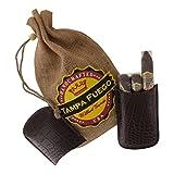 Tampa Fuego Cigar Case Crocodile Grain Genuine Leather Brown Robusto Made in USA