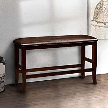 Awesome Bench Clemmine Espresso Contemporary Counter Height Dining Bench 26 In High X 41 In Wide X 15 In Deep Creativecarmelina Interior Chair Design Creativecarmelinacom