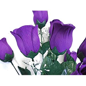 "Phoenix Silk Rose Bud Bush 12 Artificial Silk Flowers 20"" Bouquet 3974 PURPLE 14"