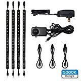 TORCHSTAR LED Safe Lighting Kit, (4) 12'' Linkable light bars + Motion Sensor + Power adapter, Under Cabinet, Gun Safe, Locker, Closet, Under Counter, Shelf, Showcase Lighting, 5000K Daylight