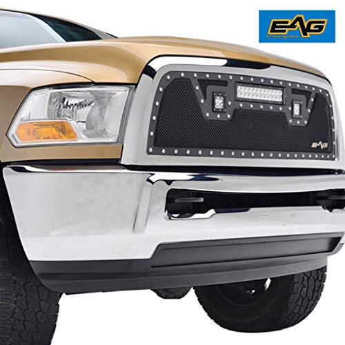 EAG Cutout Rivet Black Stainless Steel Wire Mesh Grille with LED Lights Fit for 13-18 Dodge Ram 2500/3500