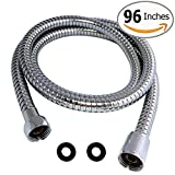 Shower Hose 98 Inches 8 ft Extra Long Stainless Steel Flexible Handheld Shower Head with Chrome Finishes - Best Detachable Handshower Extension Replacement Adapter with Brass Fitting