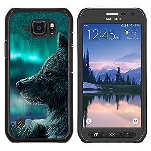 Caucho caso de Shell duro de la cubierta de accesorios de protección BY RAYDREAMMM - Samsung Galaxy S6Active Active G890A - Lobo Azul Cielo perro salvaje Animal Bosque de cuento de hadas