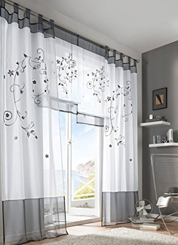 Uphome 1 Pair Floral Embroidered Curtain