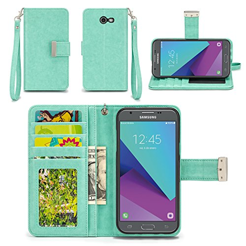 Samsung Galaxy J3 Prime Case, Samsung Galaxy J3 (2017) Case, Galaxy J3 Eclipse / J3 Mission/Sol 2 Case - IZENGATE [Classic Series] Wallet Cover PU Leather Flip Folio with Stand (Mint)