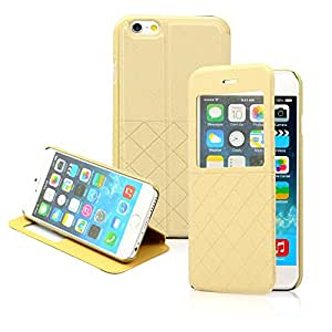 GEARONIC TM Luxury Leather Window View Design Wallet Folio Flip Pouch Skin Case Cover for Apple 4.7 iPhone 6 - Gold