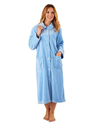 Slenderella HC8301 Women\'s Blue Long Sleeve Robe Dressing Gown at ...