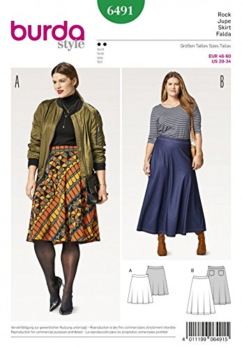 Burda Ladies Easy Plus Size Sewing Pattern 6491 Flared Skirts