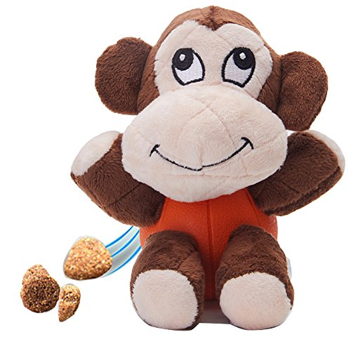 Petgin Indestructible Dog Toys Squeak Plush Toys Rubber Feeder Ball for Small Medium Dogs - Monkey