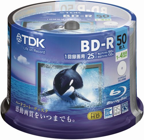 TDK Blue-ray BD-R 25GB Disk 50 Pack (Japanese Import) by TDK