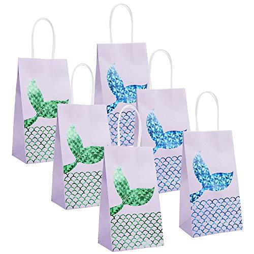 24PCS Mermaid Party Bags Mermaid Gift Bags Mermaid Goodie Bags Glitter Treat Bags for Kids Girls Mermaid Themed Birthday Party, AOCHERN