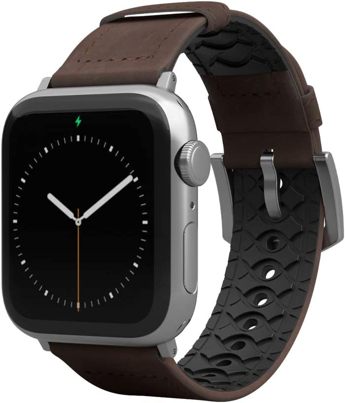 Groove Life - Vulcan Watch Band Compatible with Apple Watch 38mm 40mm 42mm 44mm, Breathable Leather and Silicone Bands Series 5 4 3 2 1 - Ascent Narrow Short Silver