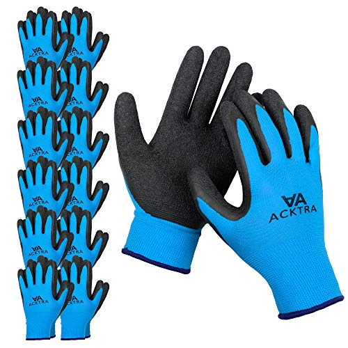 ACKTRA Coated Nylon Safety WORK GLOVES 12 Pairs