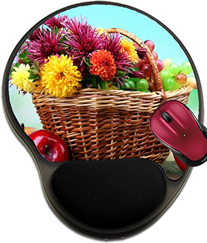 Liili Mousepad wrist protected Mouse Pads/Mat with wrist support design ID: 23796184 Composition with beautiful flowers in wicker basket and fruits on bright background (Wicker Basket Bugs)