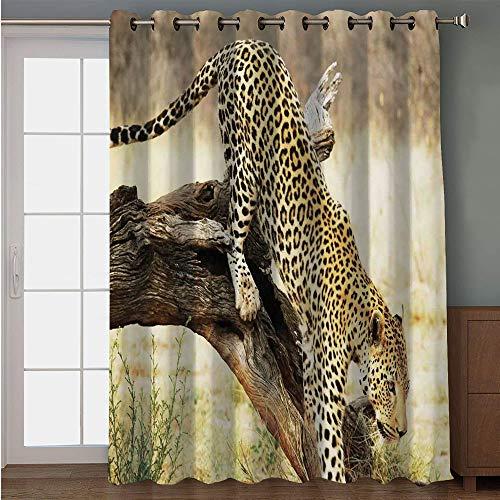 Blackout Patio Door Curtain,Safari Decor,Leopard On Tree Trunk Desert Plants Exotic Hunter Predator Big Cat Print Decorative,Yellow Green Brown,for Sliding & Patio Doors, 102