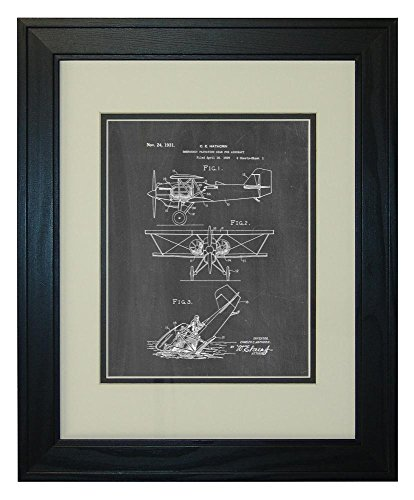 emergency-flotation-gear-for-aircraft-patent-art-chalkboard-print-in-a-solid-pine-wood-frame-with-a-