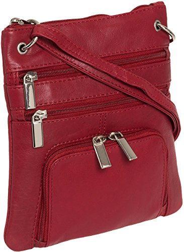 Silver Lilly Womens Genuine Leather Multi-Pocket Crossbody Purse Bag (Red)