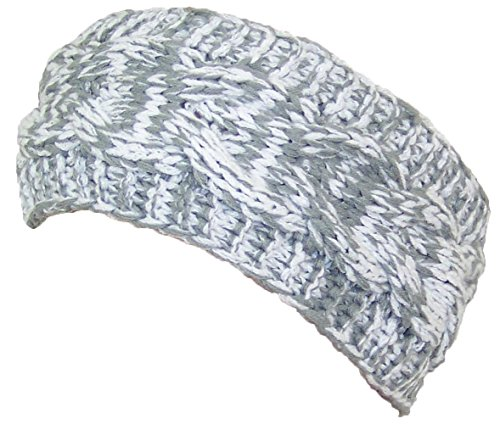 Best Winter Hats Tight Cable Knit Headband/Ear Warmer Womens Small (One Size) - Light Gray