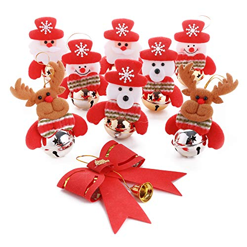 - GNEGNI Christmas Bells Decorations - 9pcs Set Christmas Tree Ornaments Bells,Santa, Snowman, Reindeer, Bear,Bow-Knot