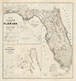 Historic Map | The state of Florida 1846 | Historic Antique Vintage Map Reprint